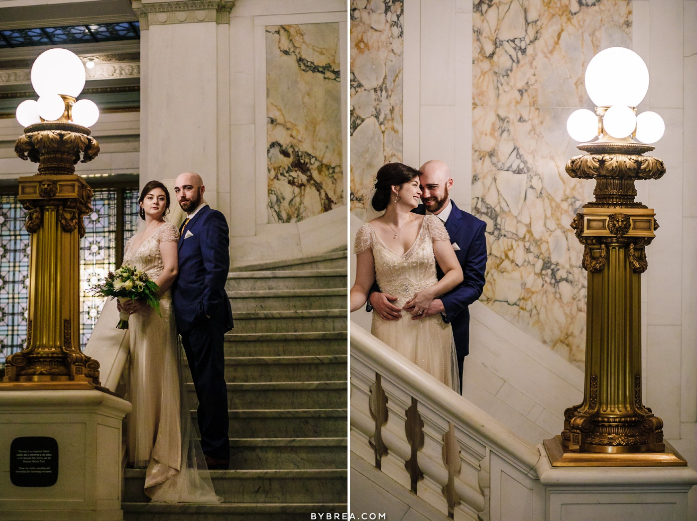 Bride and groom staircase portrait Hotel Monaco Baltimore wedding