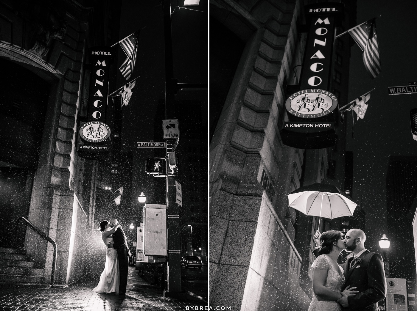 Evening portrait rain shot bride and groom Hotel Monaco winter wedding