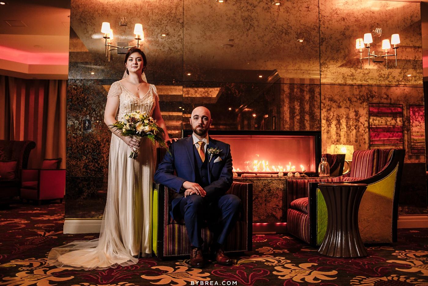 Bride and groom portrait Hotel Monaco wedding