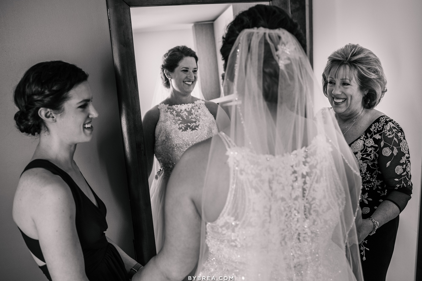 Photograph of mother sister and bride before first look Park Hyatt Washington D.C. wedding