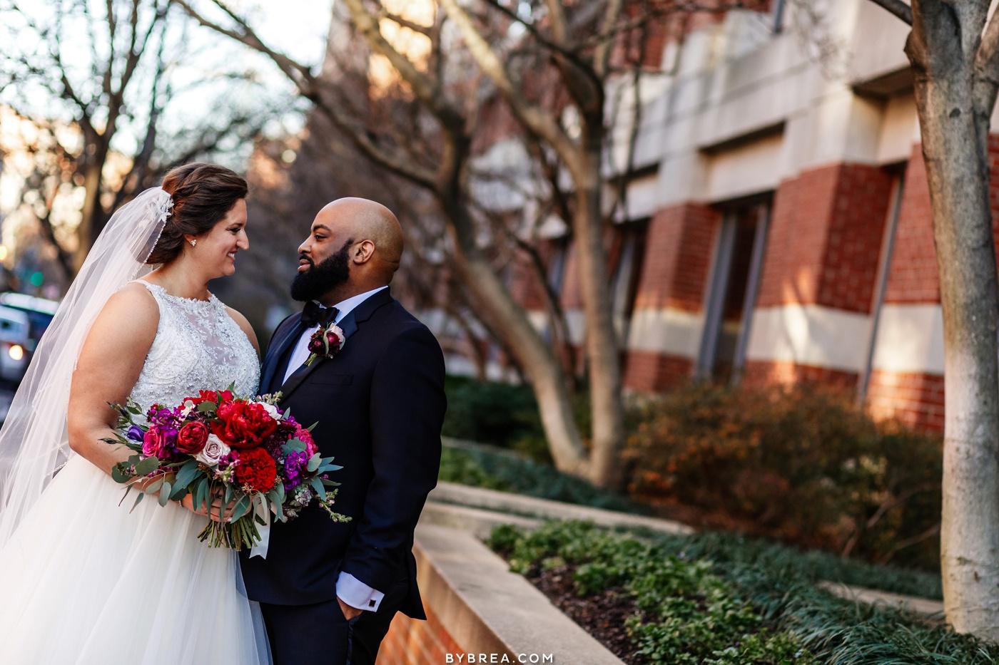 Bride and groom portrait Washington DC Park Hyatt