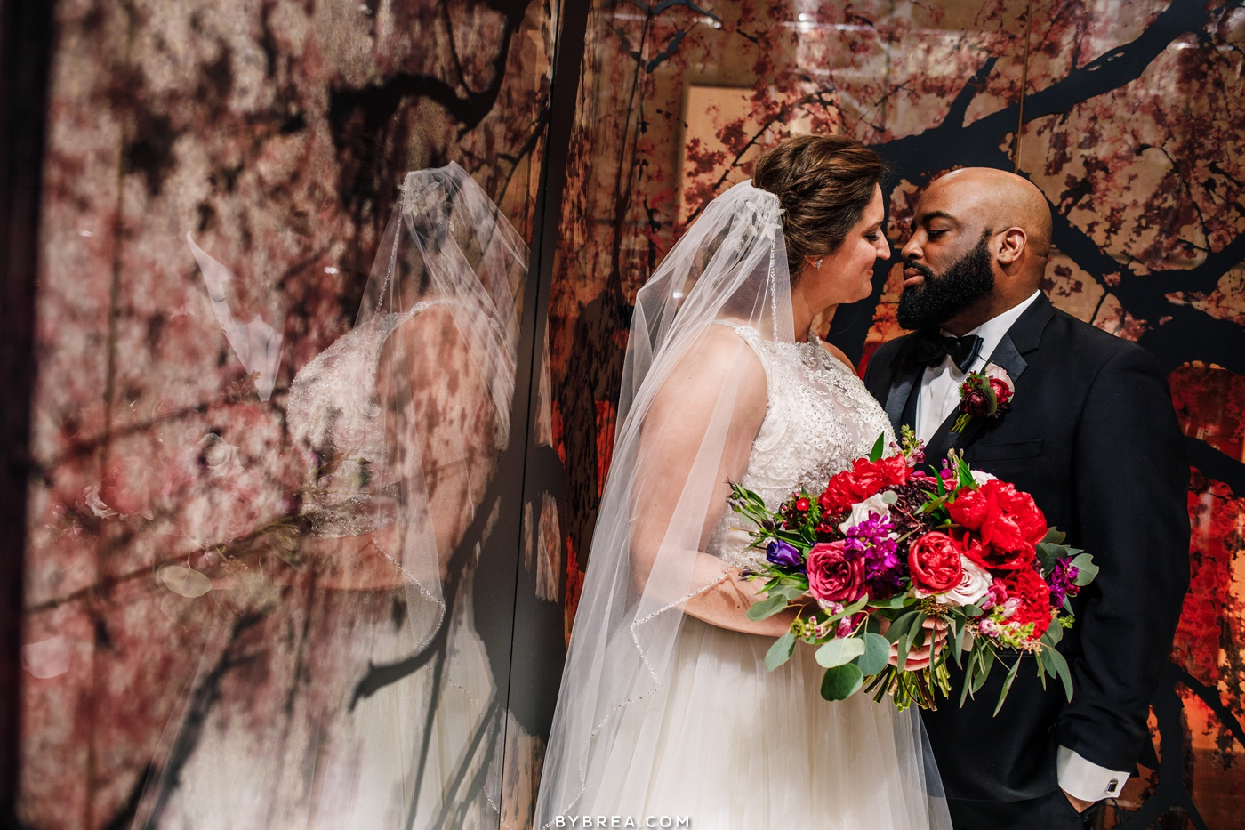 Intimate moment between bride and groom during portraits at Park Hyatt wedding D.C.