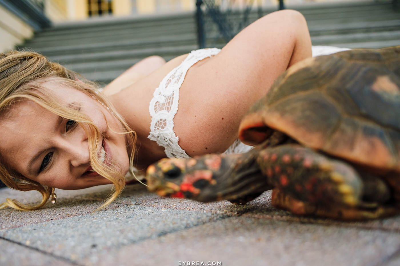 photo of bride laying on the ground with tortoise at Baltimore Zoo