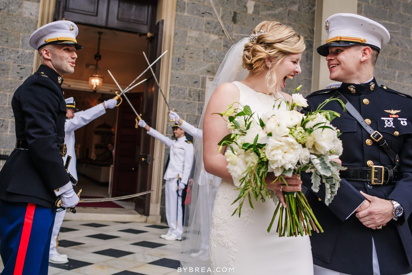 sword arch exit from military wedding at Baltimore basilica