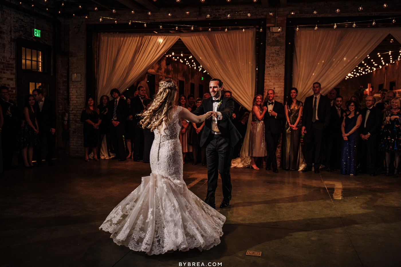 Bride and groom first dance at Mt. Washington Mill Dye House in Baltimore