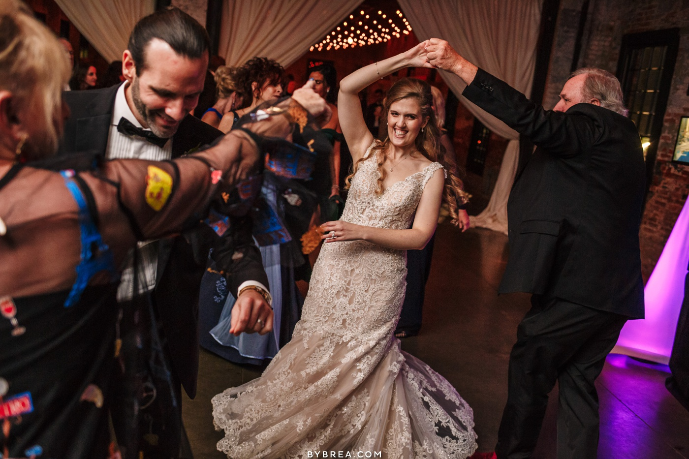 Bride and groom dancing reception Mt. Washington Mill Dye House