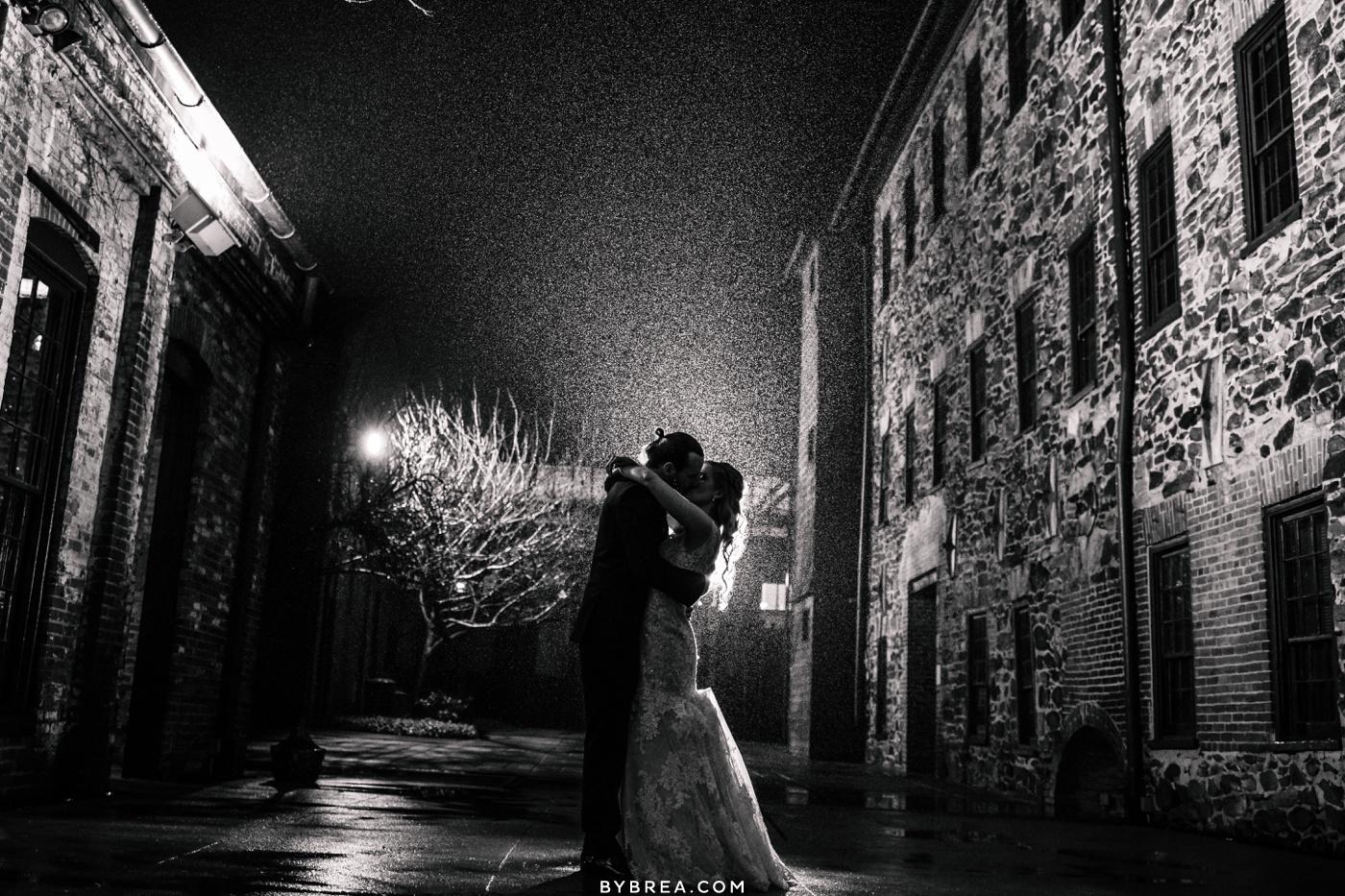 Evening rain portrait at Mt. Washington Mill Dye House Baltimore Wedding