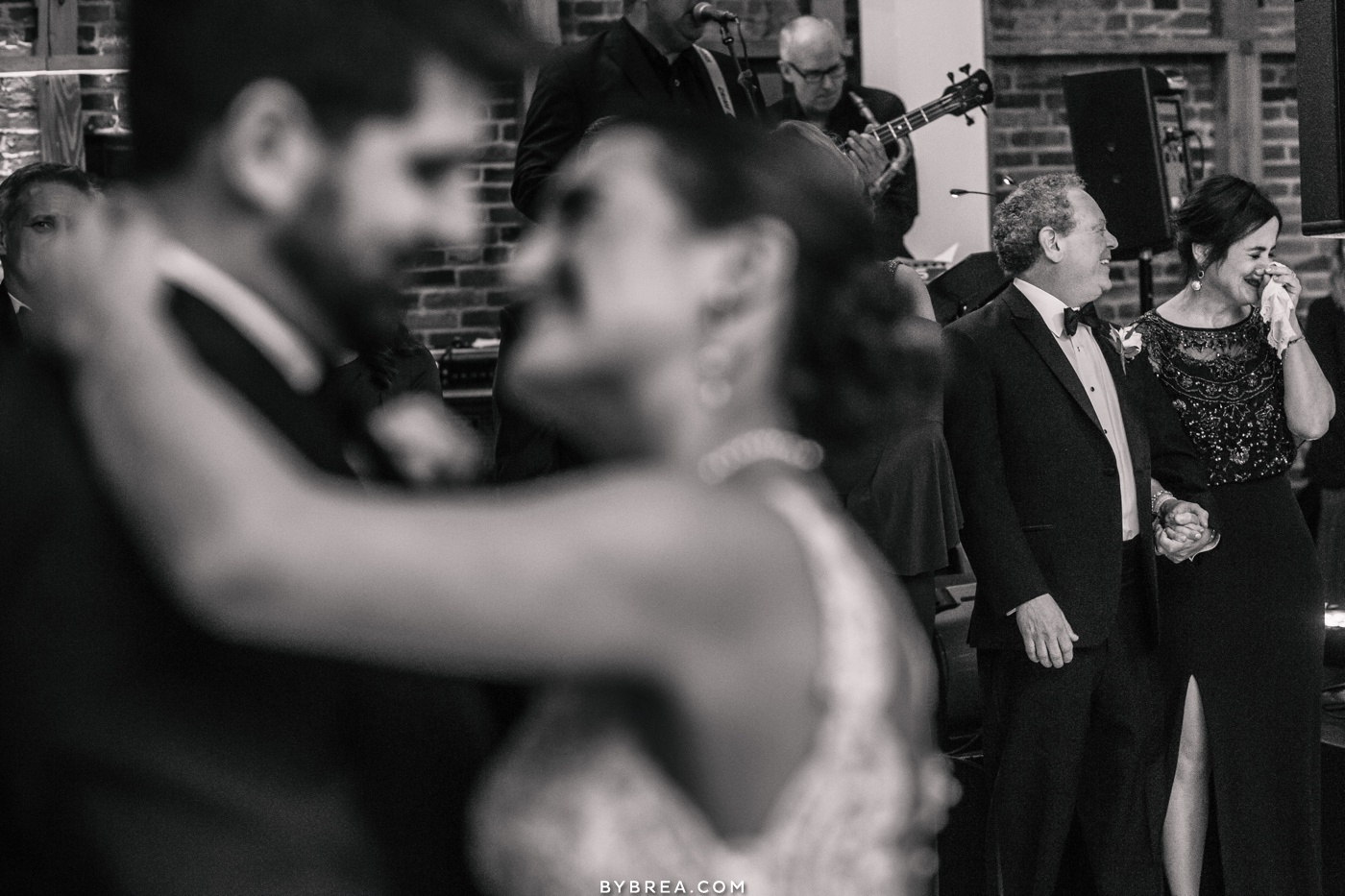 emotional photo of mother during first dance at American Visionary Art Museum