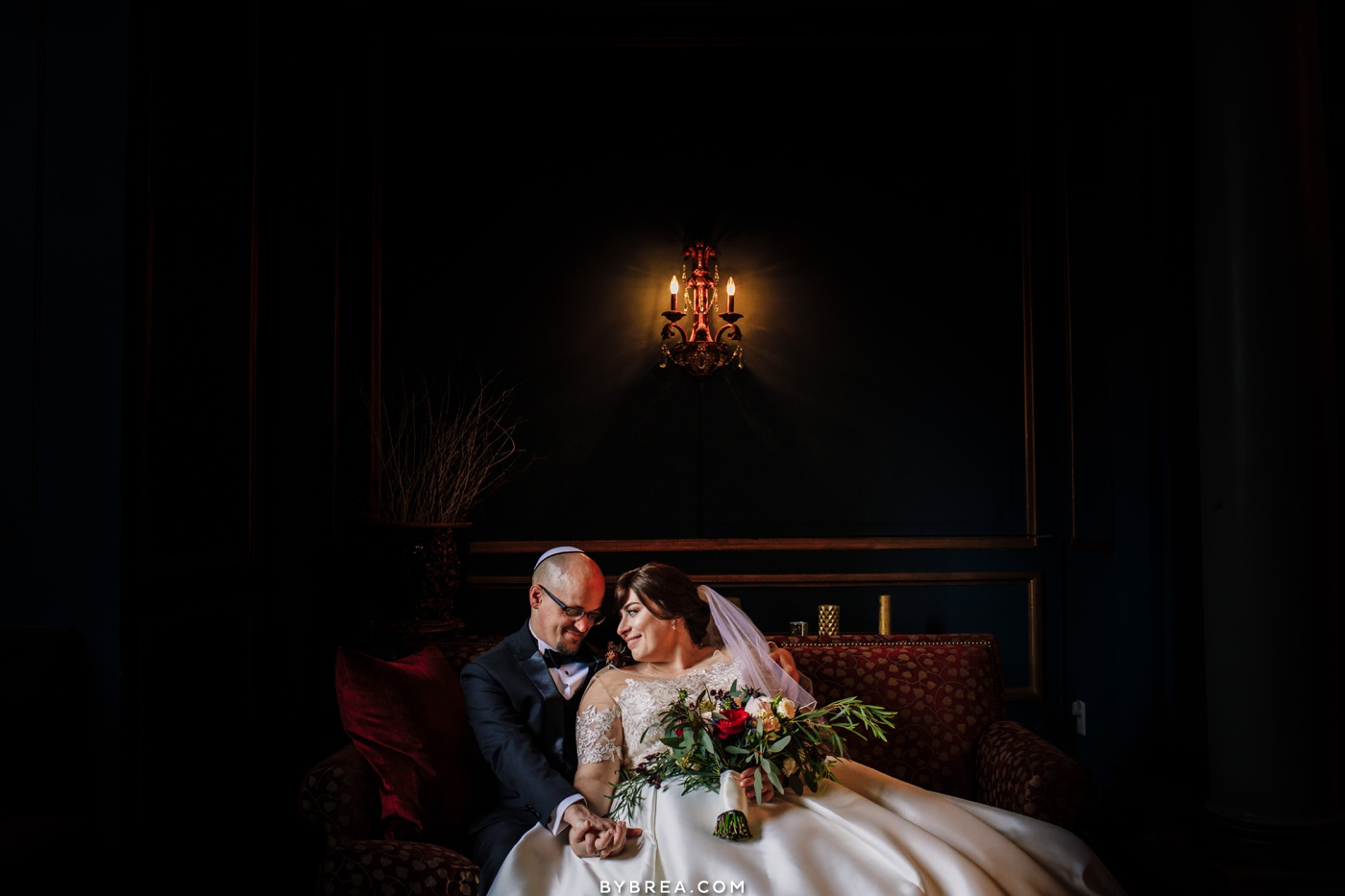 Bride and groom portrait on 12th floor at the Belvedere