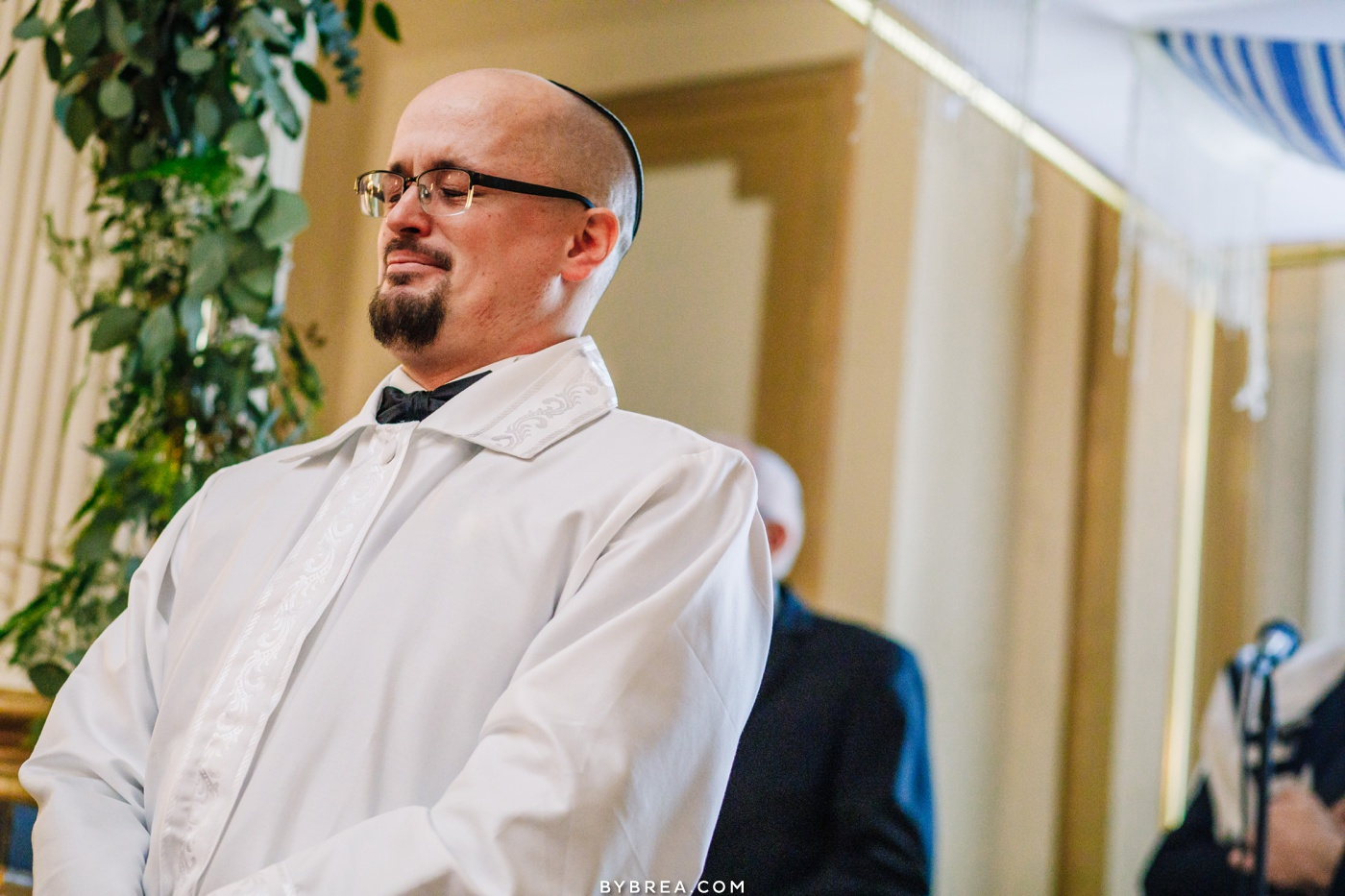 Emotional photograph of grooms reaction during ceremony Belvedere wedding