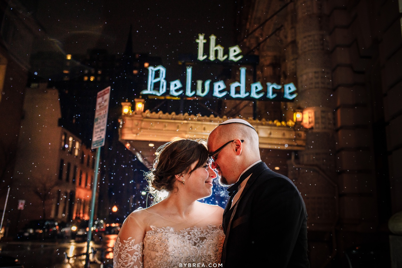 Bride and groom winter wedding portrait at the Belvedere Baltimore