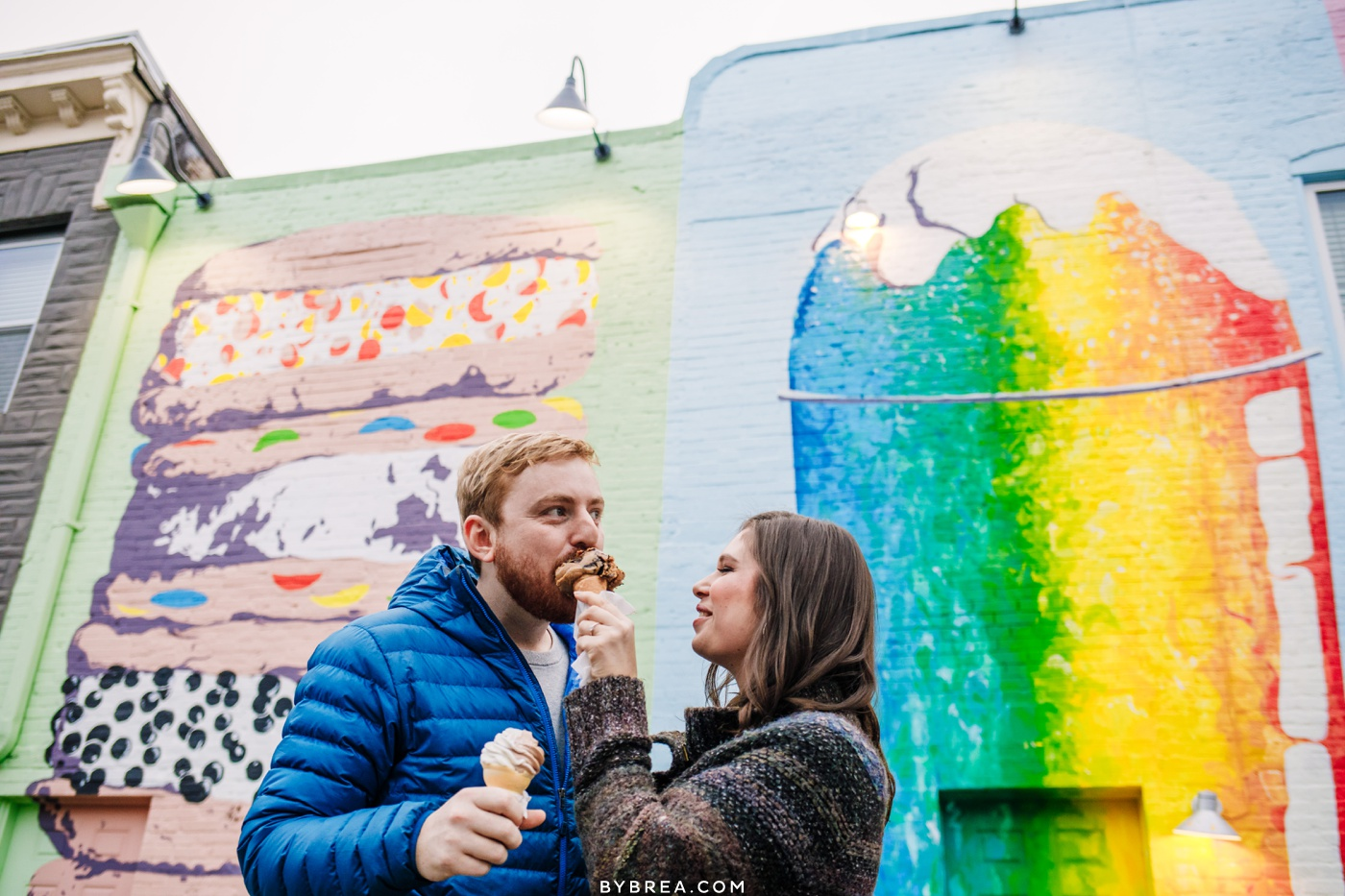 Engagement photo of couple getting ice cream at BMORE LICKS