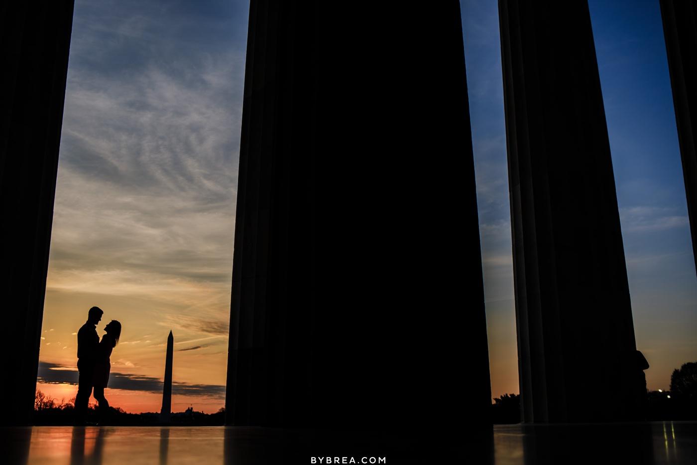 Sunrise engagement photo D.C. Monuments
