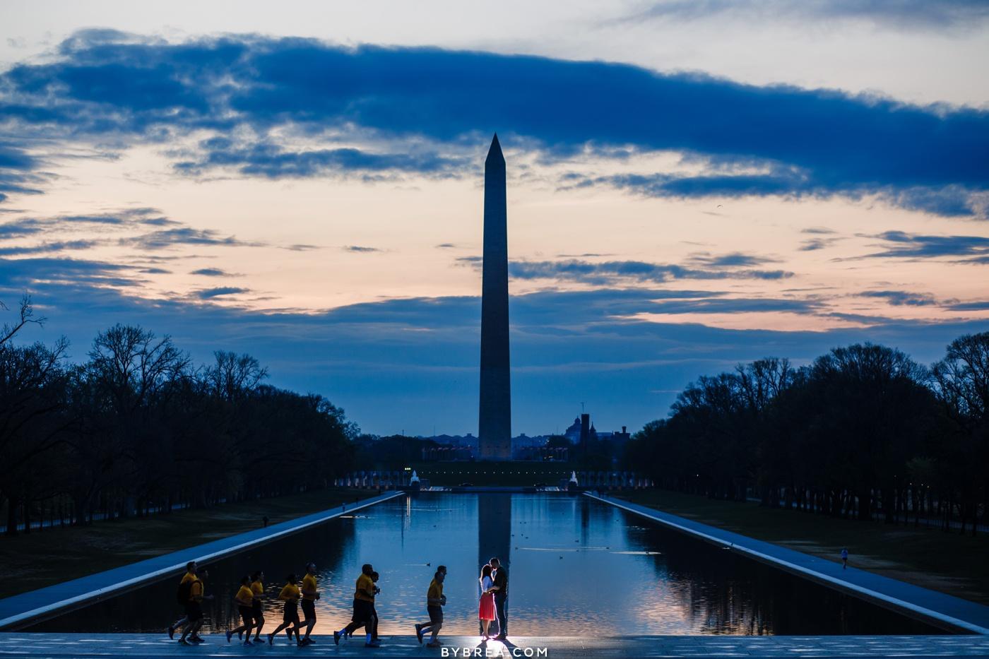 Sunrise engagement photo Washington Monument