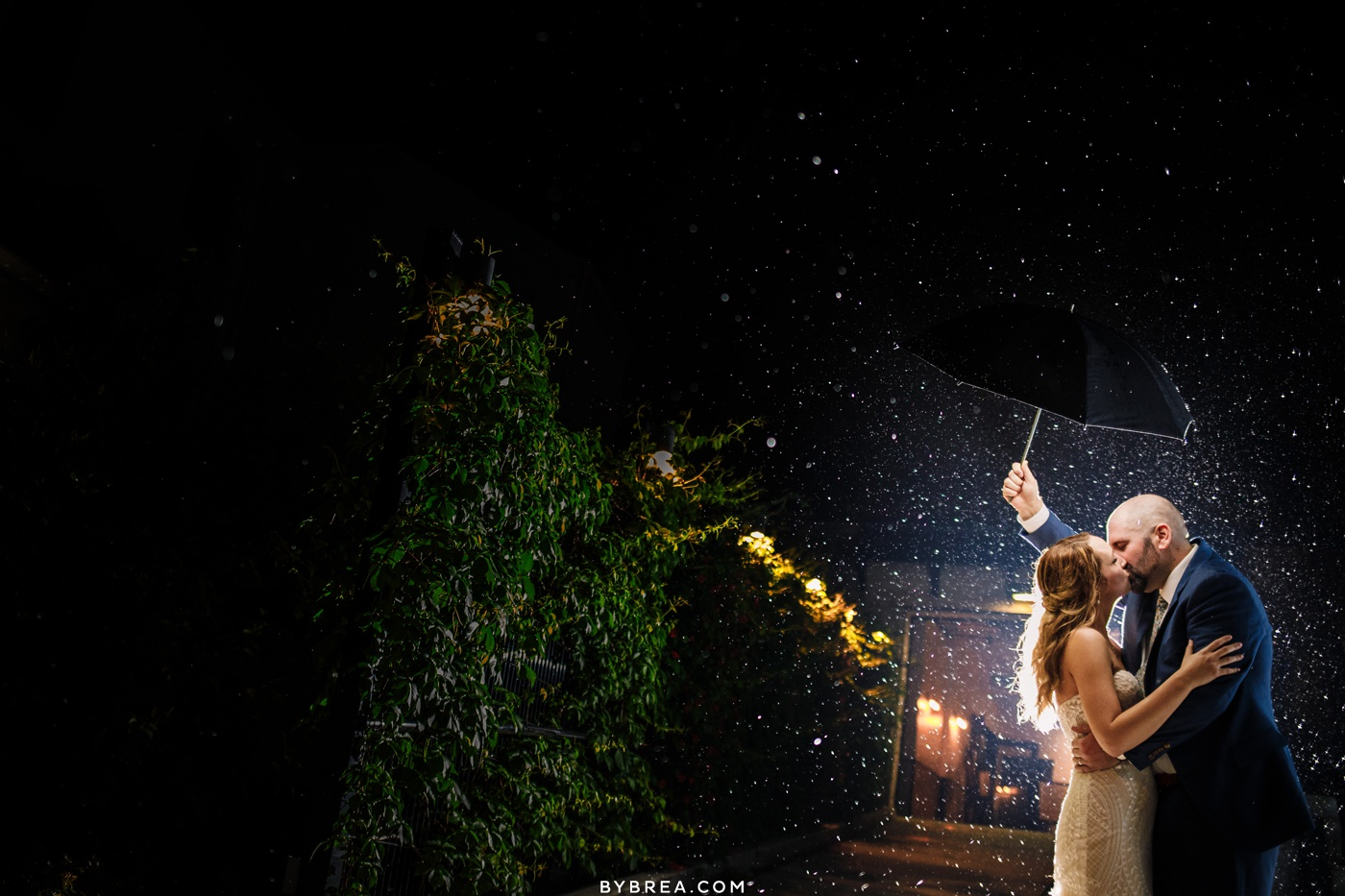 Romantic Rainy Night Portrait of Wedding Couple outside the Accelerator Space in Baltimore