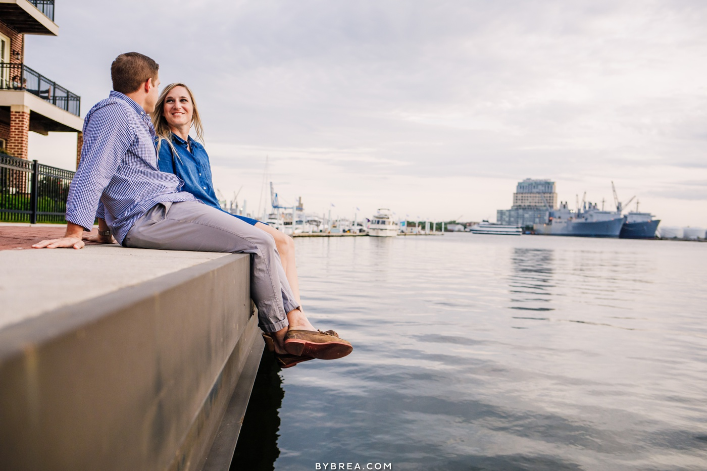 Baltimore waterfront engagement photograph