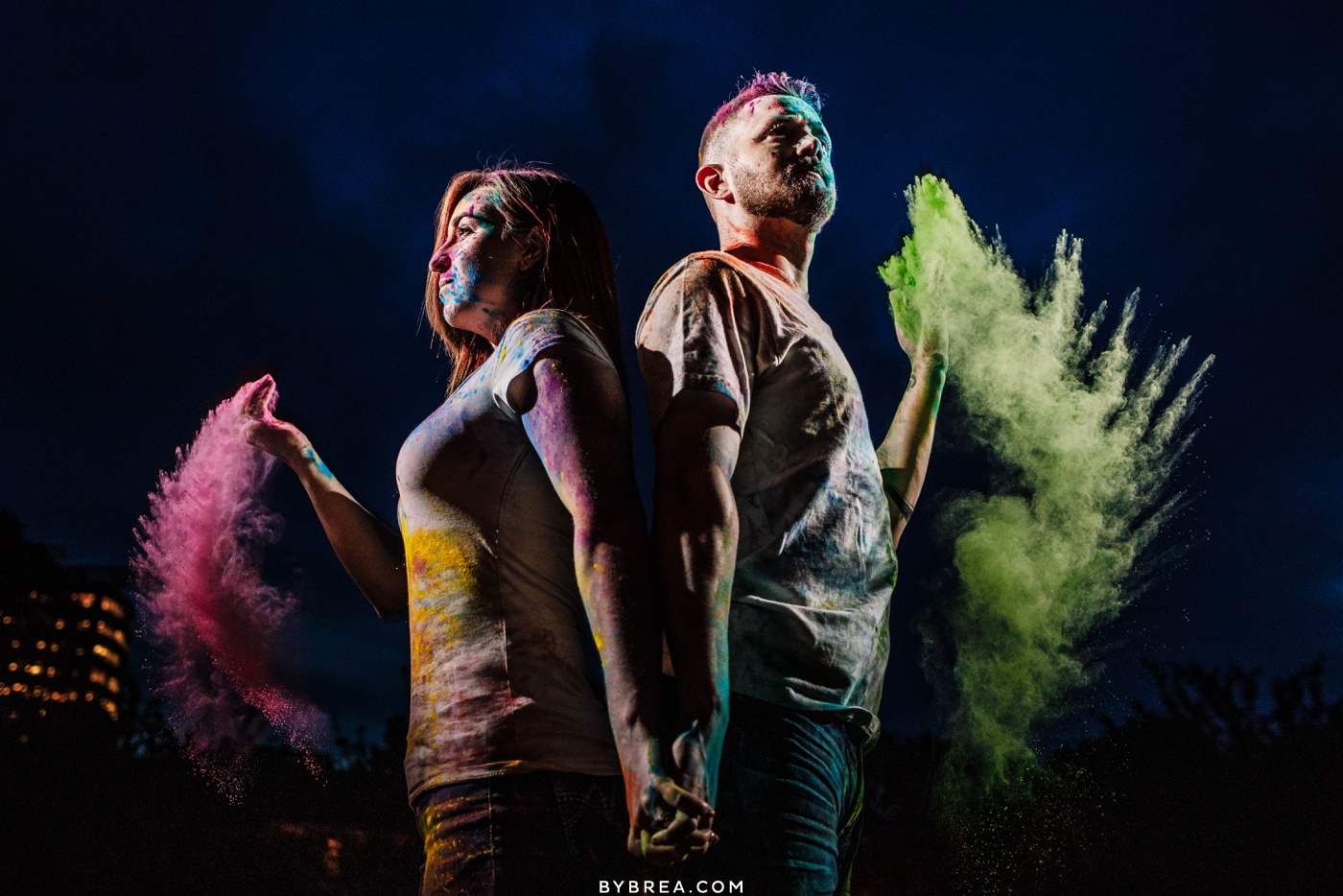 Creative night time paint powder engagement photo Baltimore