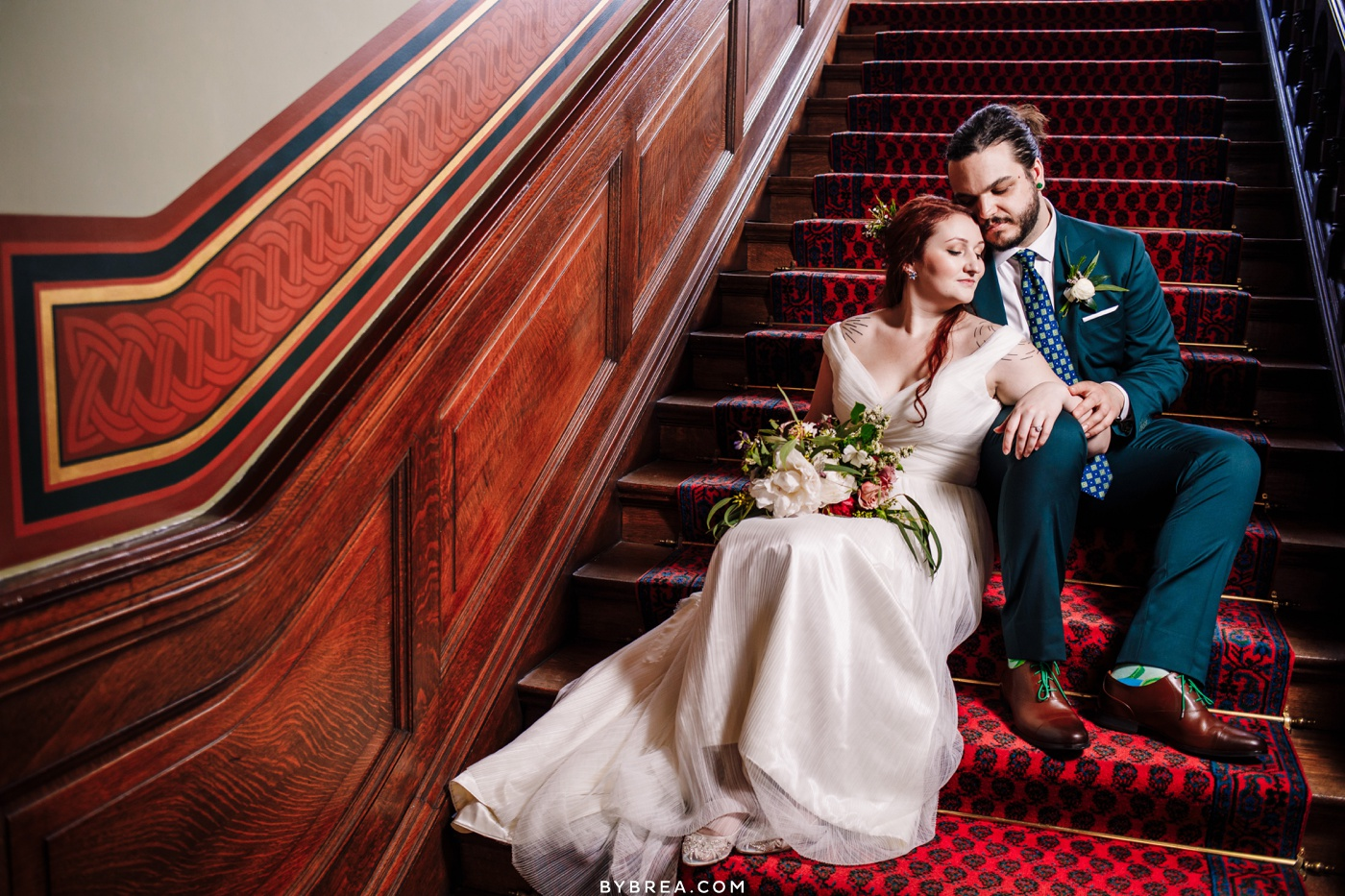 Couples portraits staircase photo at the Maryland Club Baltimore