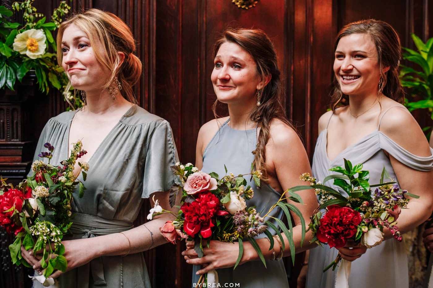 Emotional photo of  bridesmaids showing all the feels Baltimore wedding photography