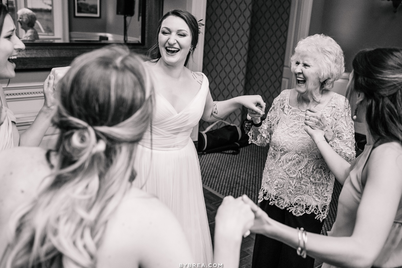 Photo of bride and grandmother dancing Maryland Club Baltimore wedding