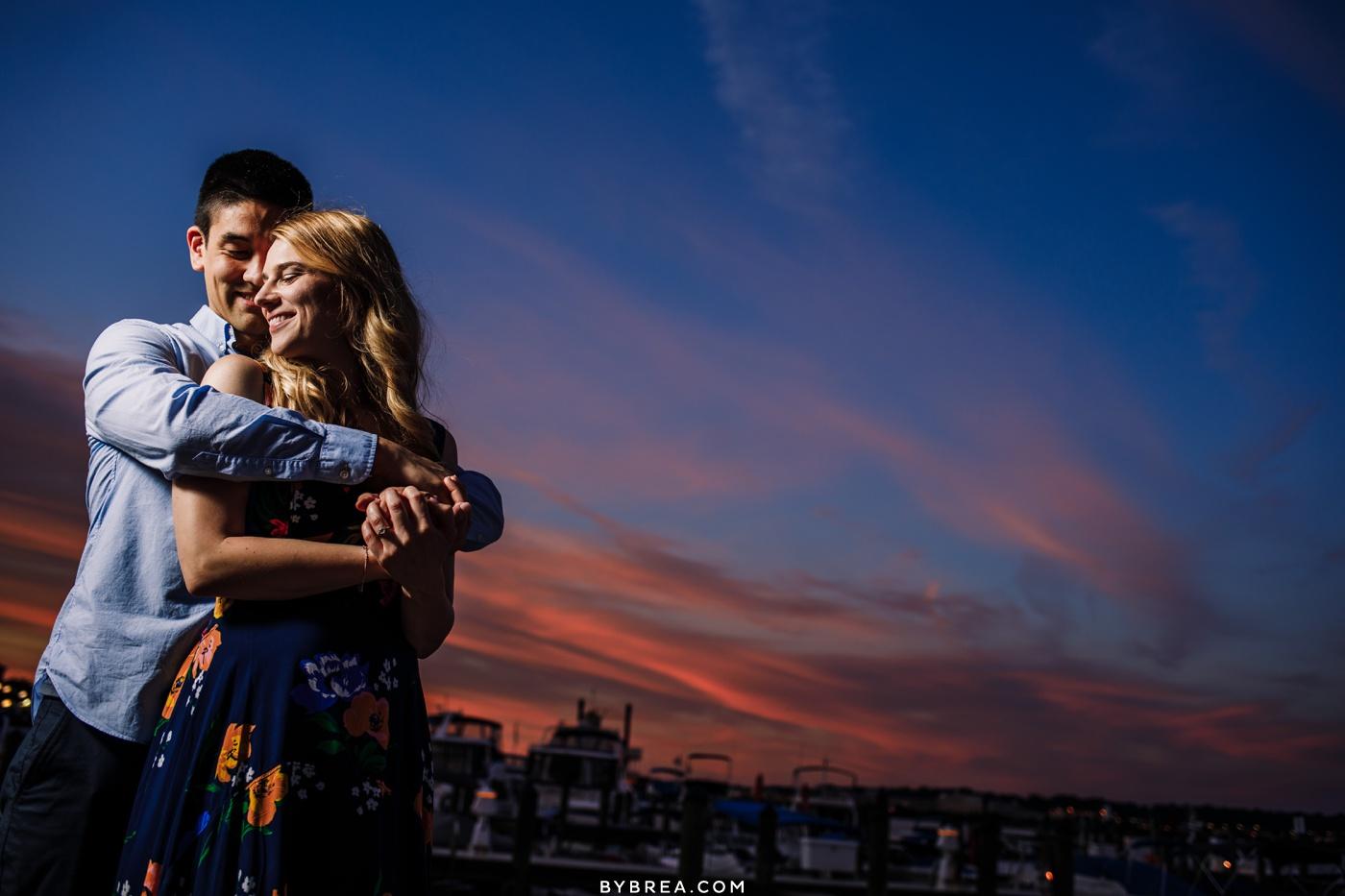 Engagement photo of couple during sunset Washington D.C.
