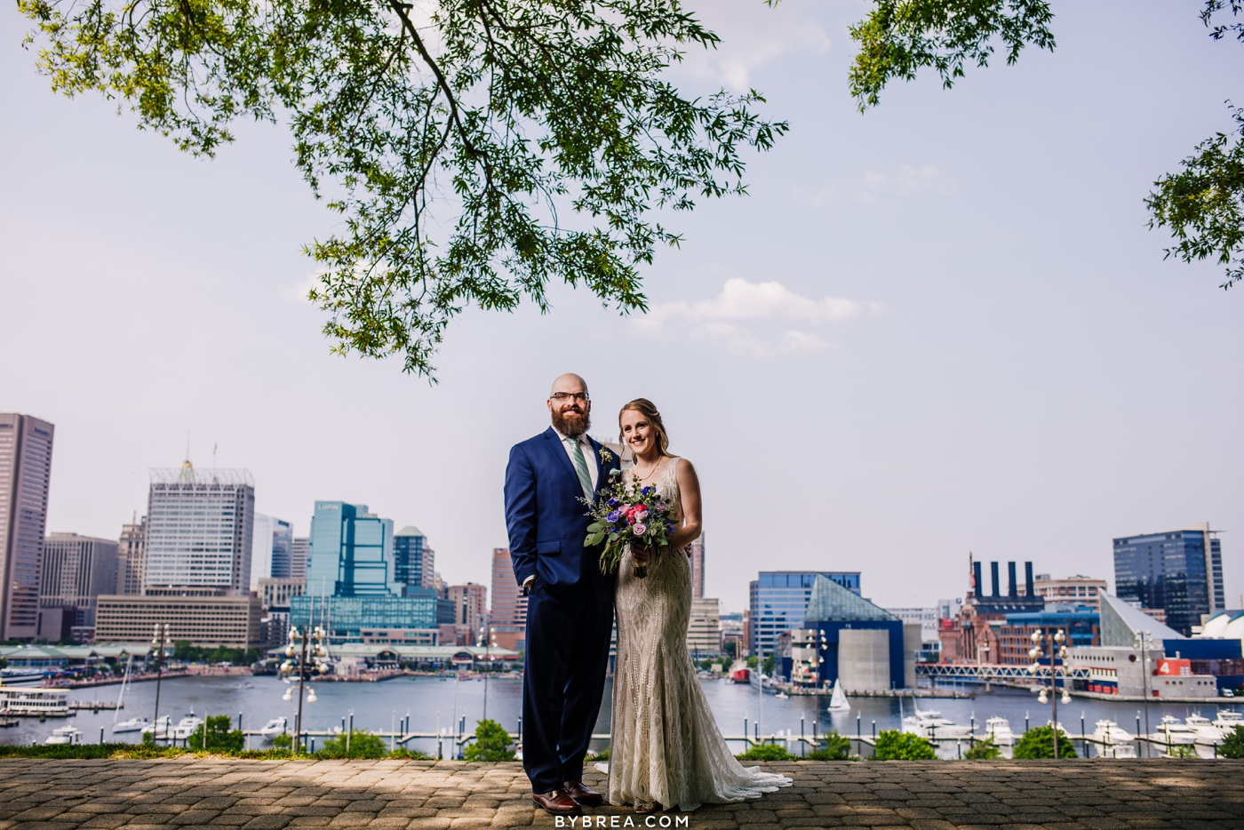 Baltimore skyline wedding portrait