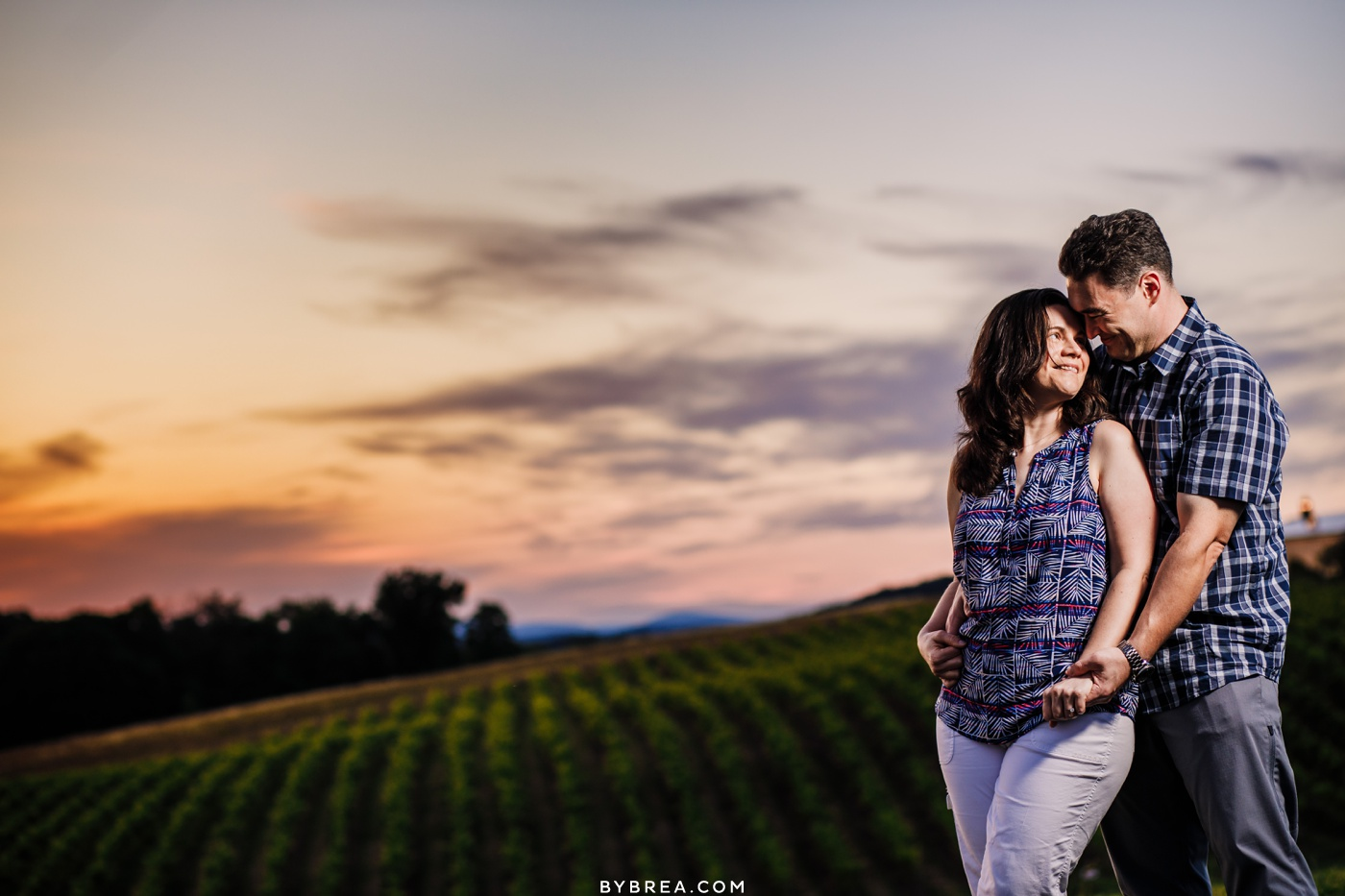 Engagement photo of couple during sunset at Linganore Winecelllars.