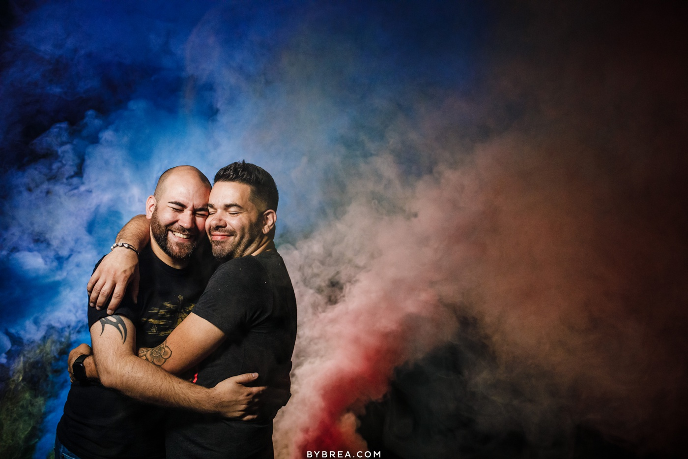 Nighttime smoke bomb photo of same-sex couple Baltimore