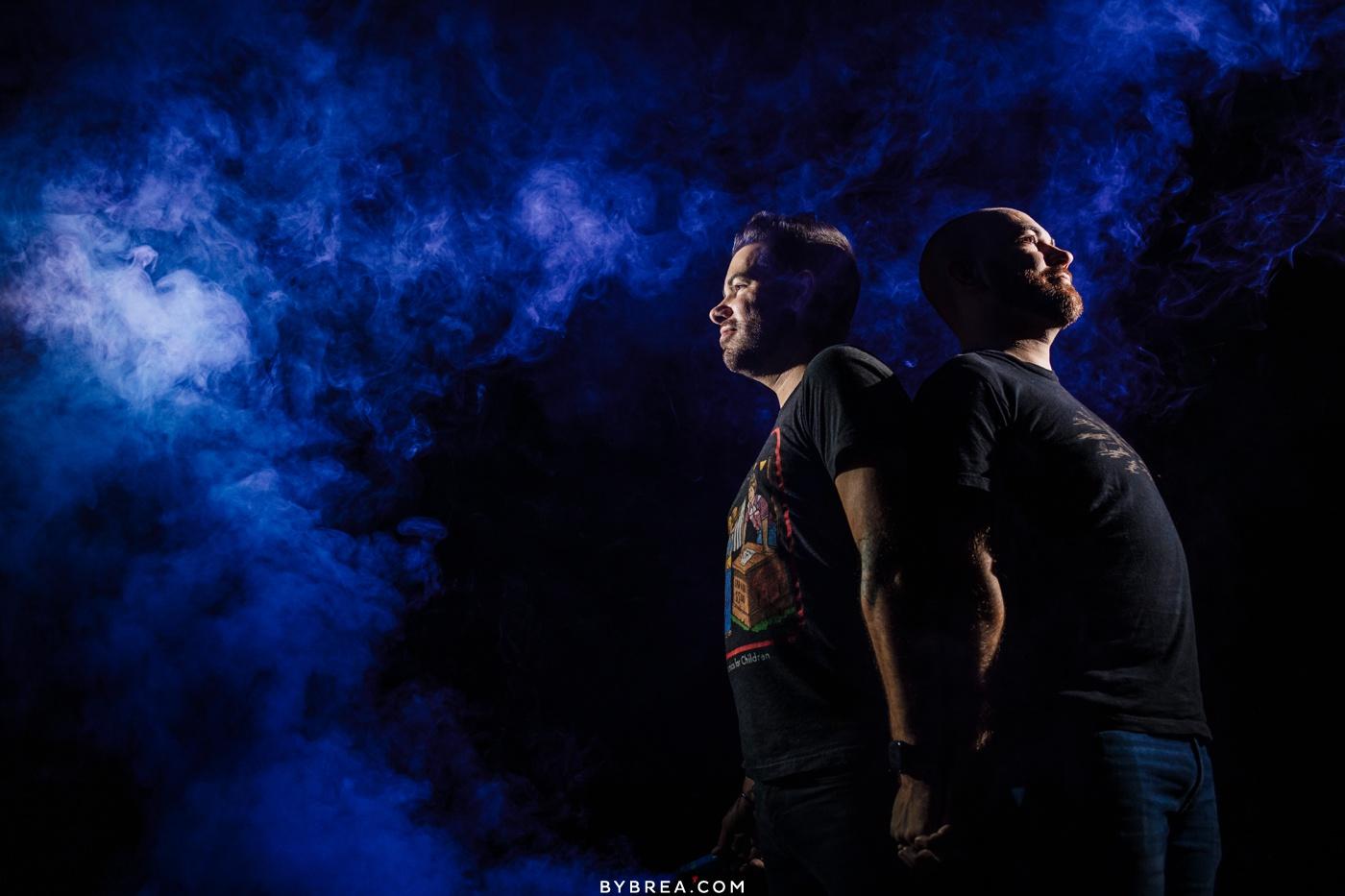 Same-sex portrait with epic lighting and smoke bombs Baltimore