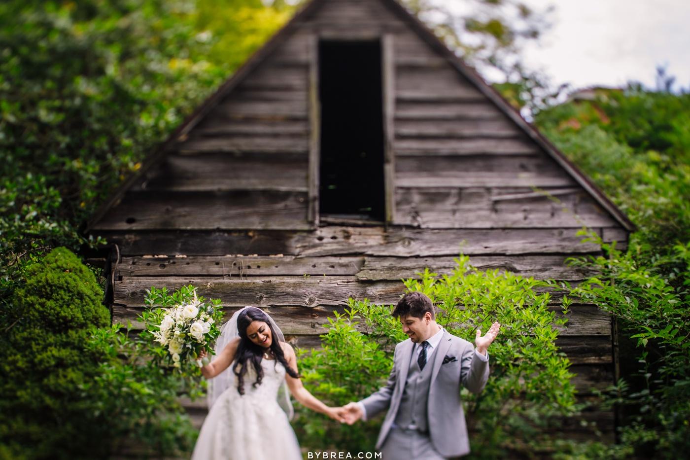 Photo of couple dancing during wedding portraits at Elkridge Furnace Inn.