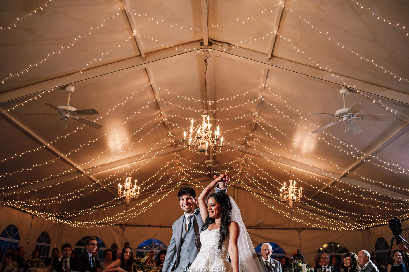 Photo of bride and groom first dance inside the tent at Elkridge Furnace Inn