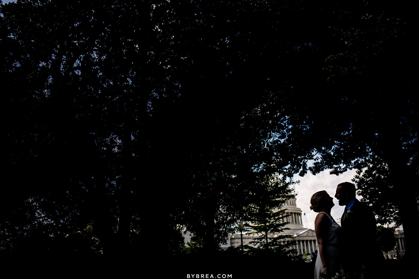 Silhouette photo of bride and groom during portraits outside the Capitol building D.C.