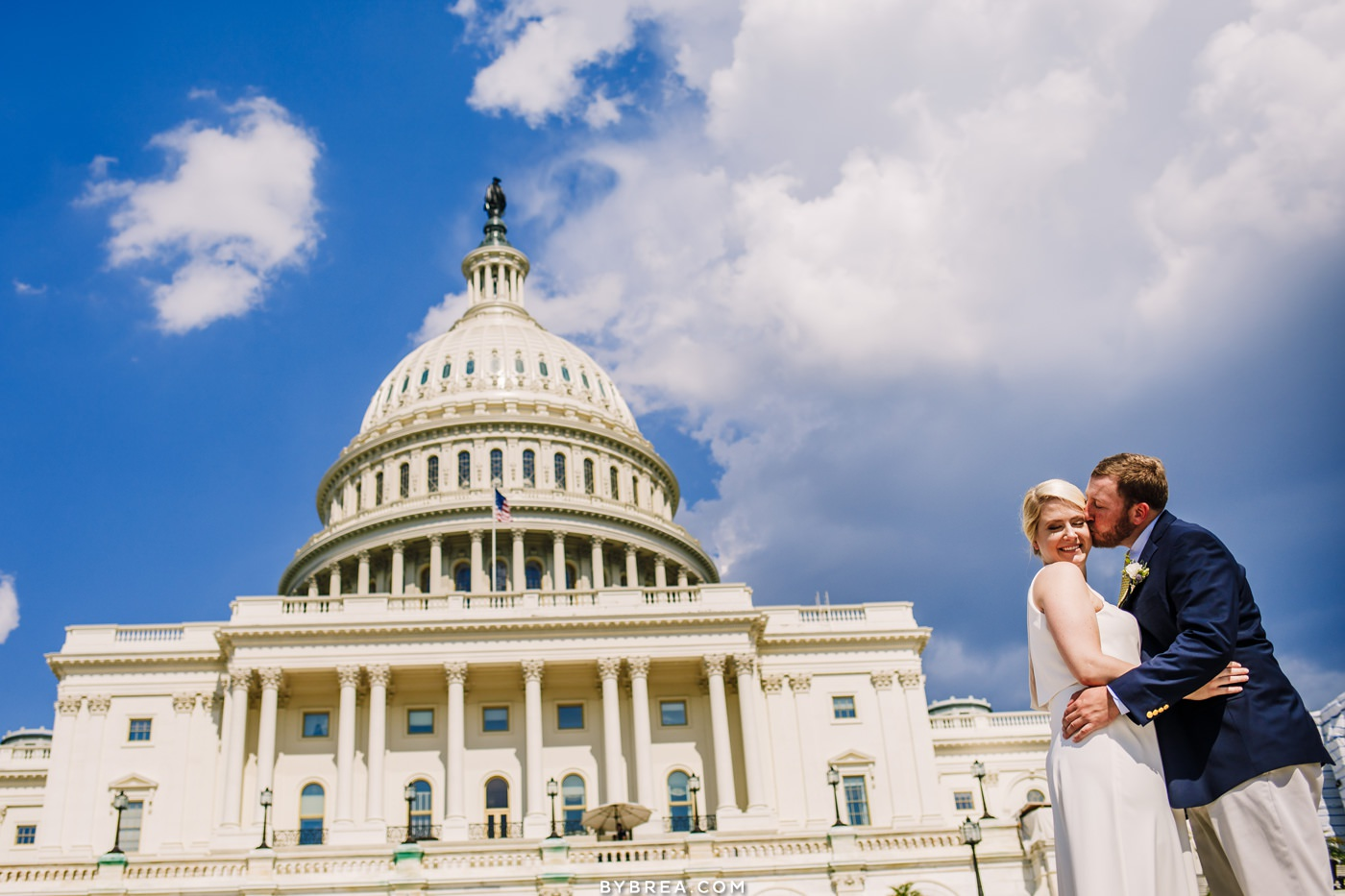 Wedding portrait photo of bride and groom outside the Capitol Washington D.C.