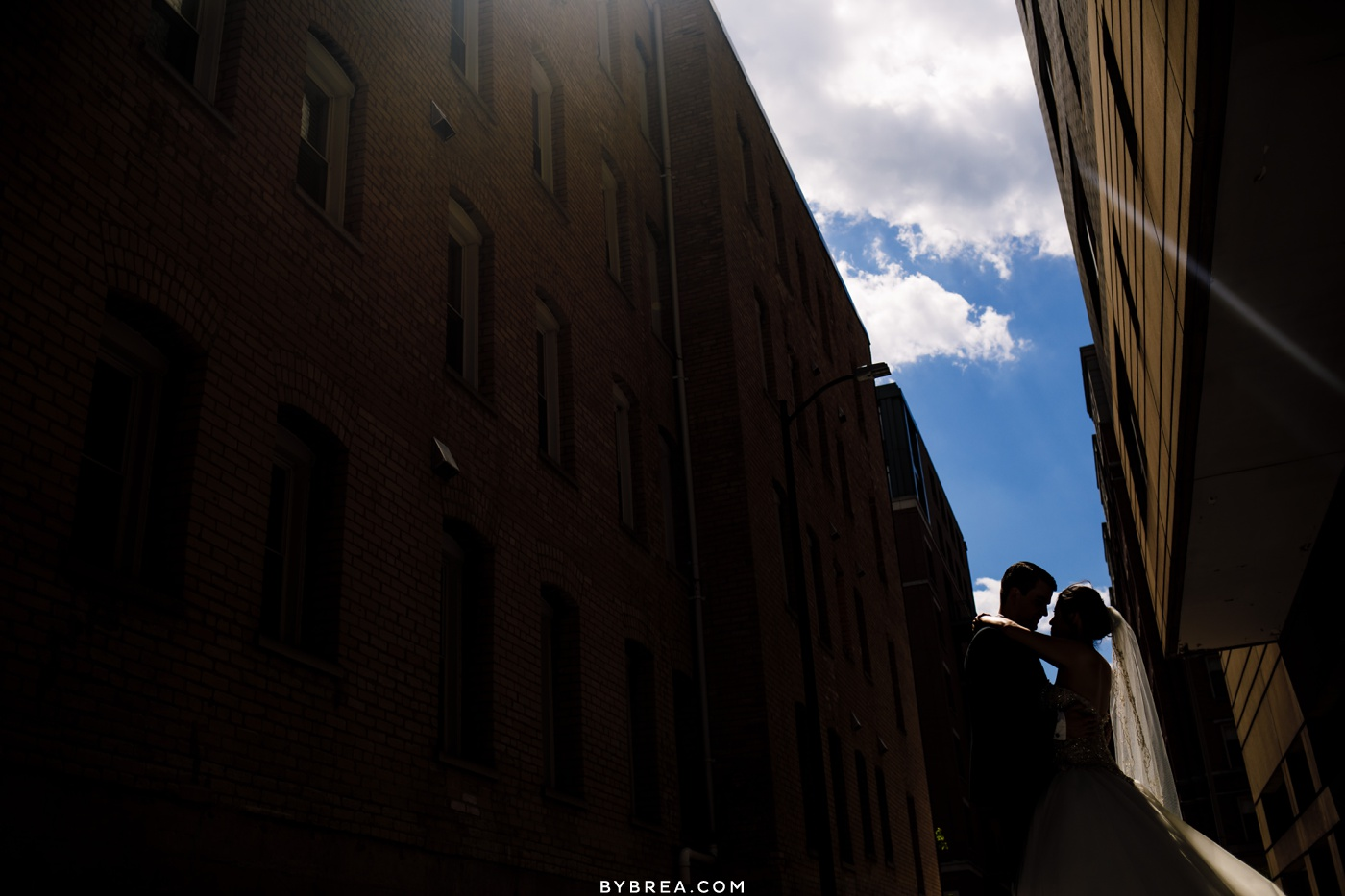 Silhouette photo of bride and groom during portraits Georgetown D.C.