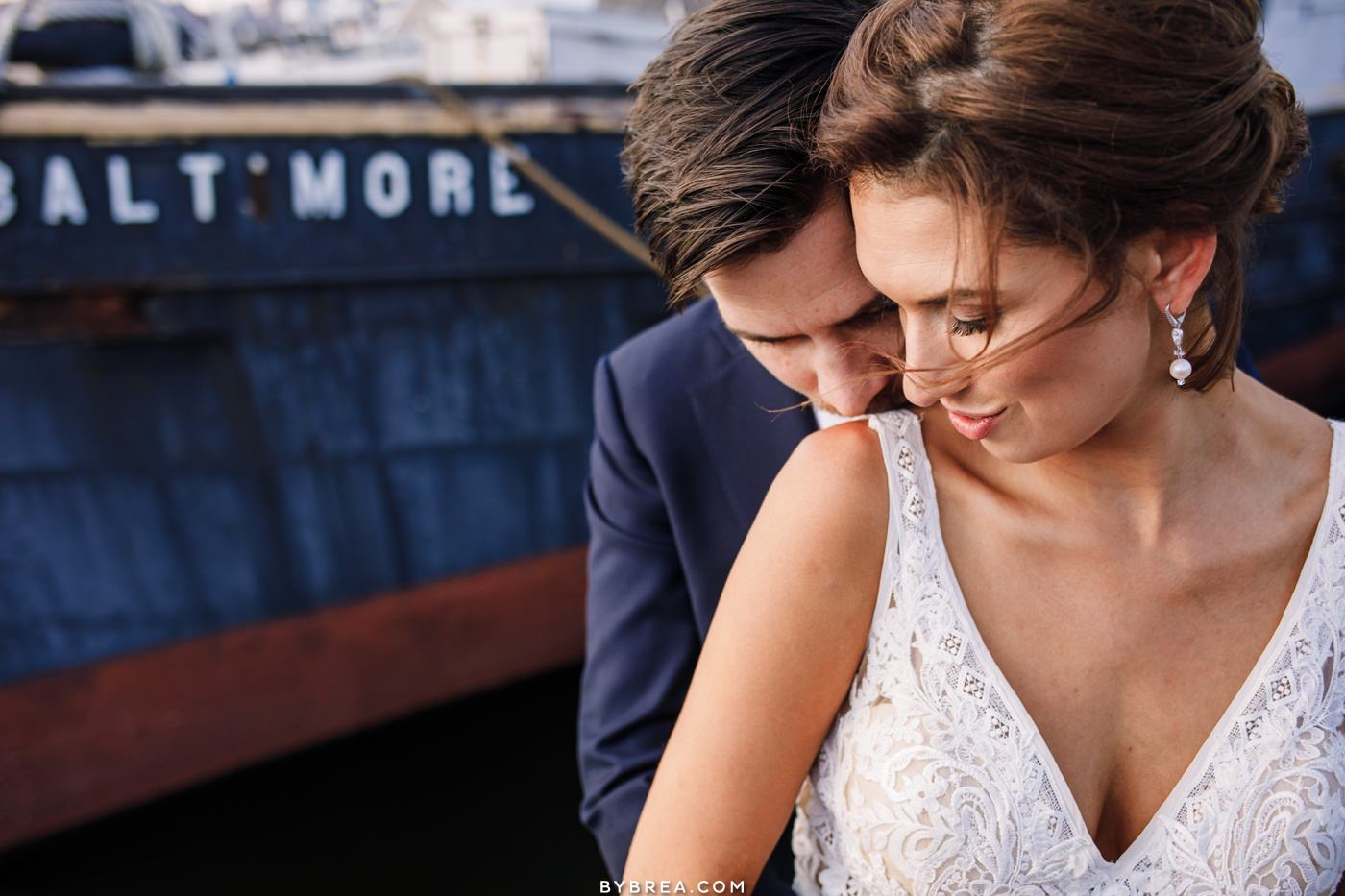 Bride and groom portrait outside at the Baltimore Museum of Industry