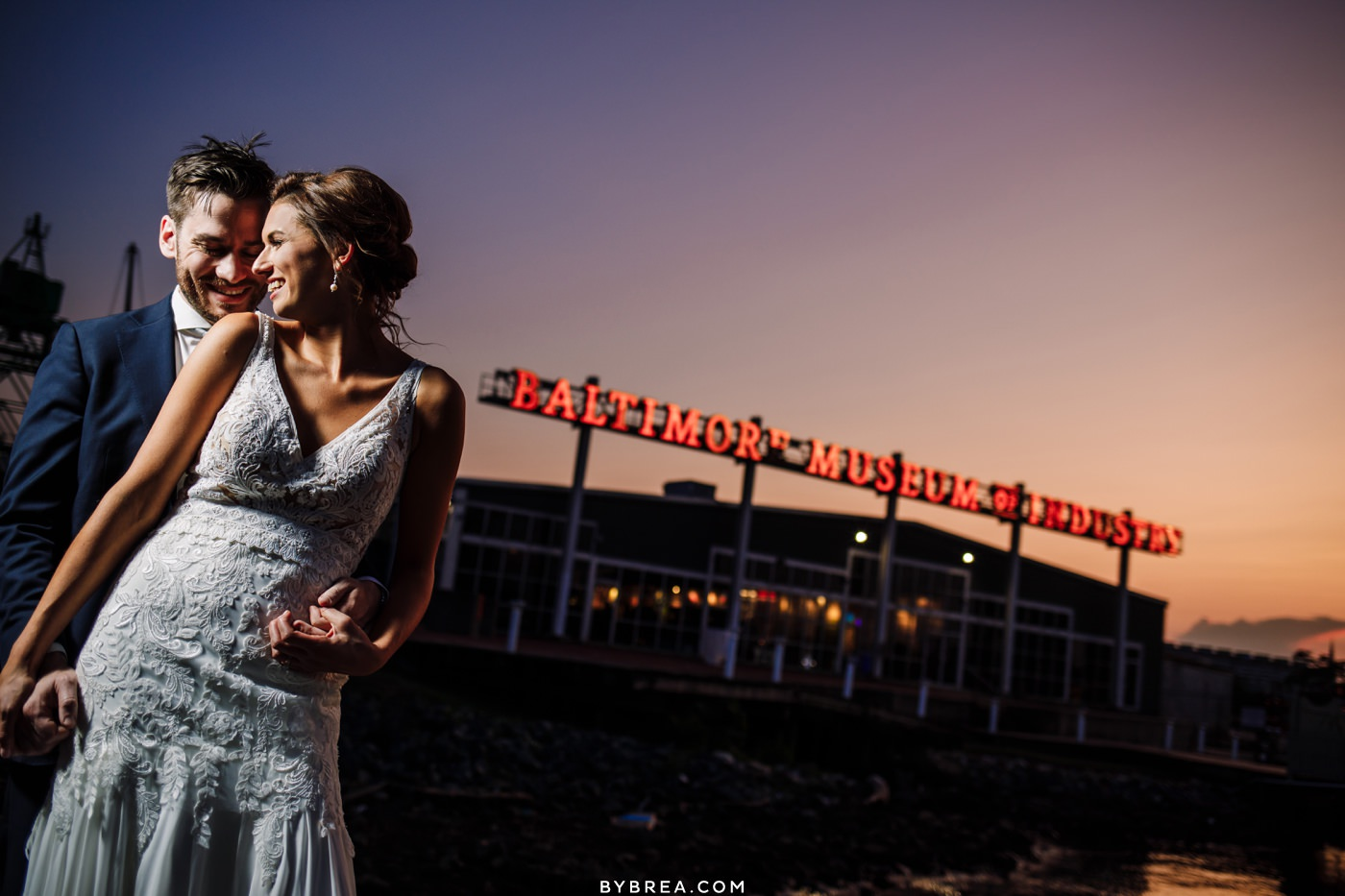 Bride and groom sunset photo at Baltimore Museum of Industry