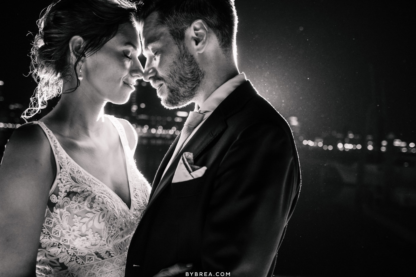 Night time portrait of bride and groom during wedding at Baltimore Museum of Industry Baltimore wedding