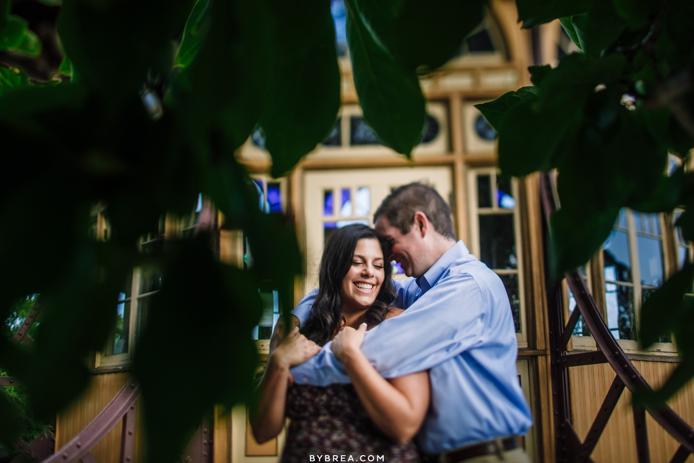 Patterson Park engagement photos near the pagoda