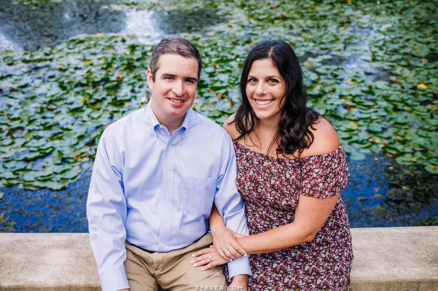 Patterson Park engagement photos near the pond