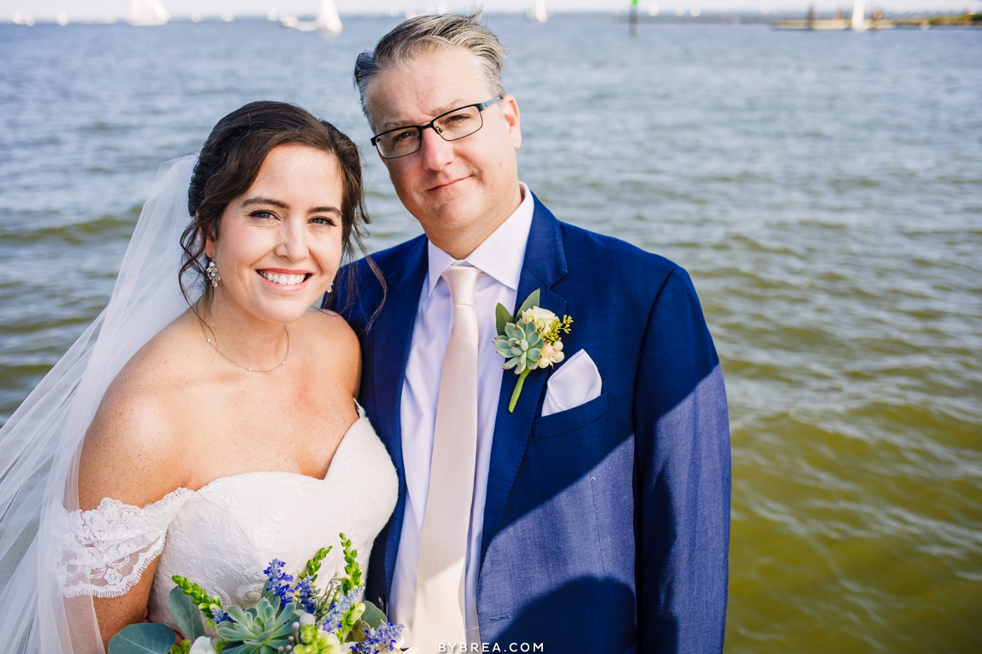Bride and groom portrait at Annapolis Maritime Museum. Wedding photography by Baltimore Wedding Photographer, Photography by Brea.