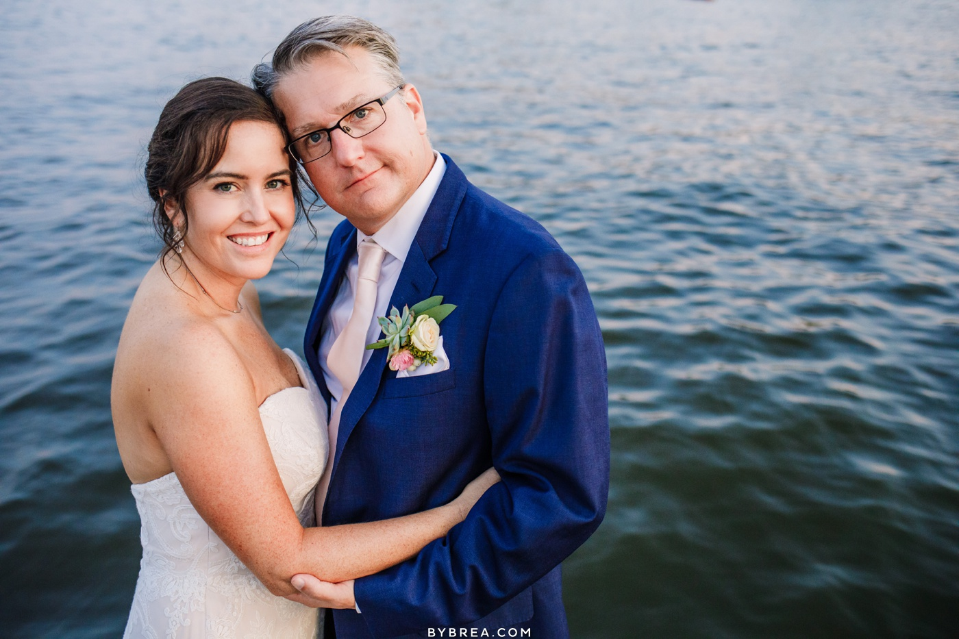 Bride and groom sunset portrait at Annapolis Maritime Museum. Wedding photography by Baltimore Wedding Photographer, Photography by Brea.