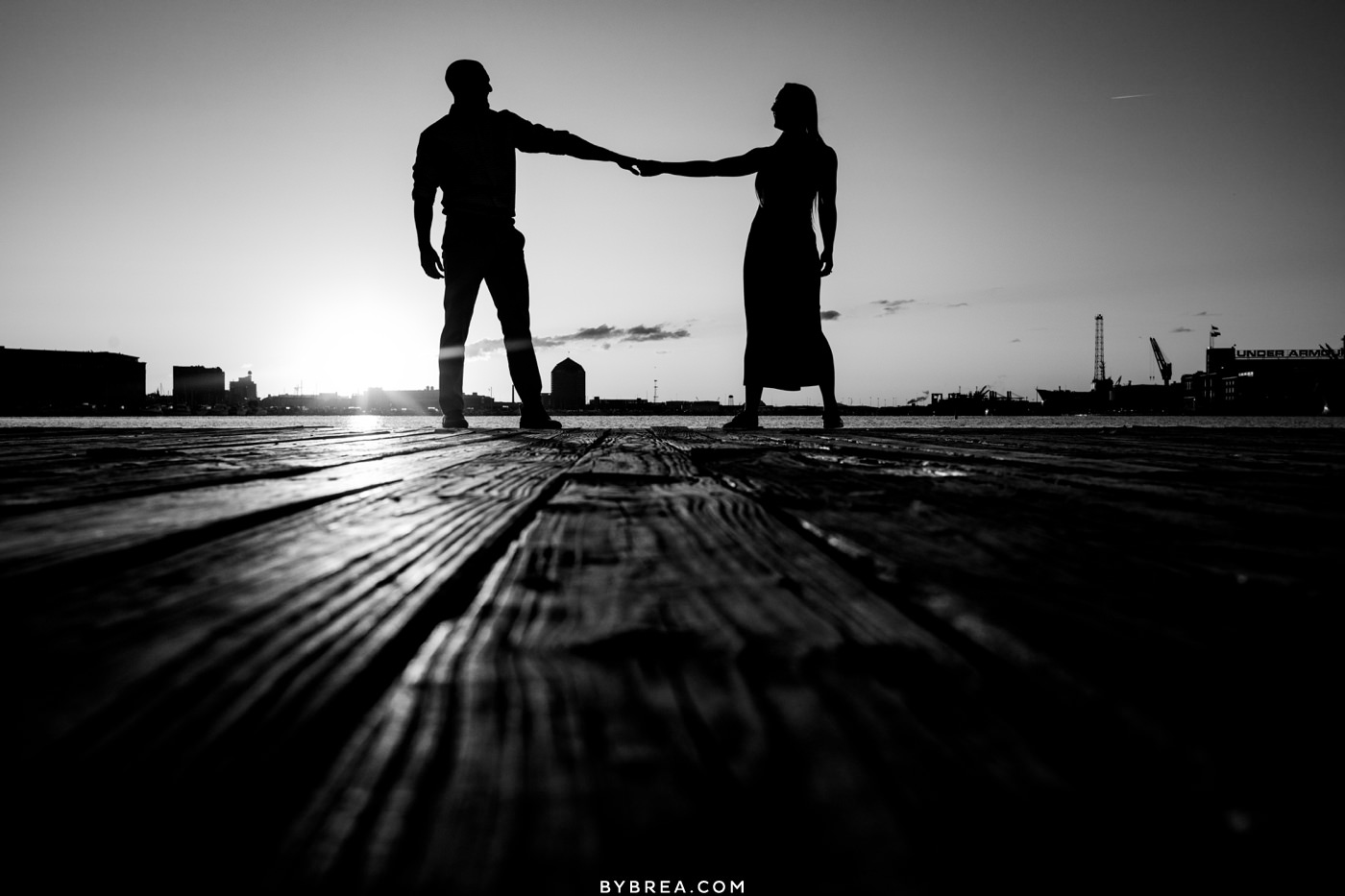 sunrise engagement picture in fells point