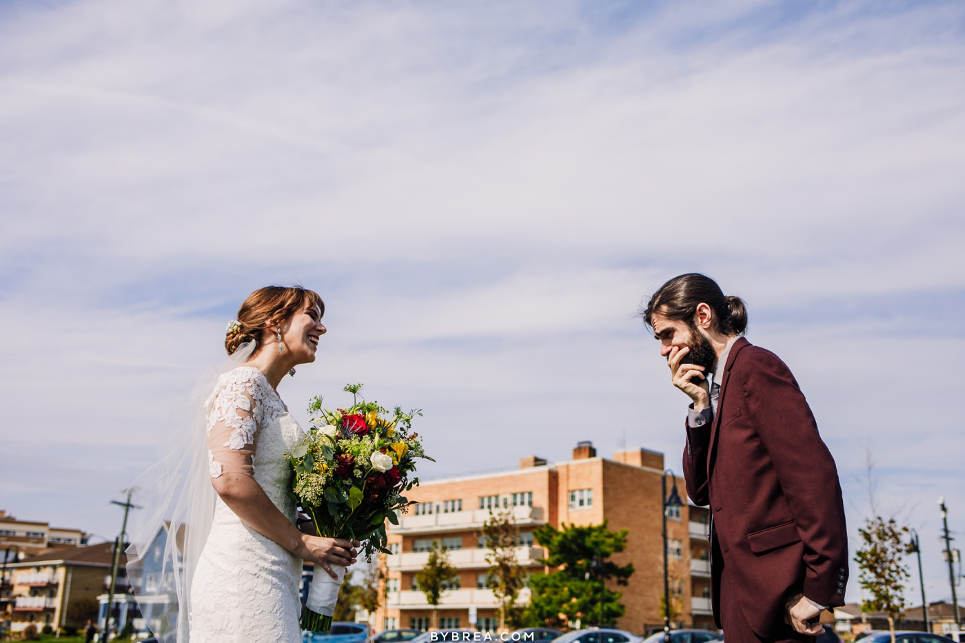 Wedding couple first look in Asbury Park