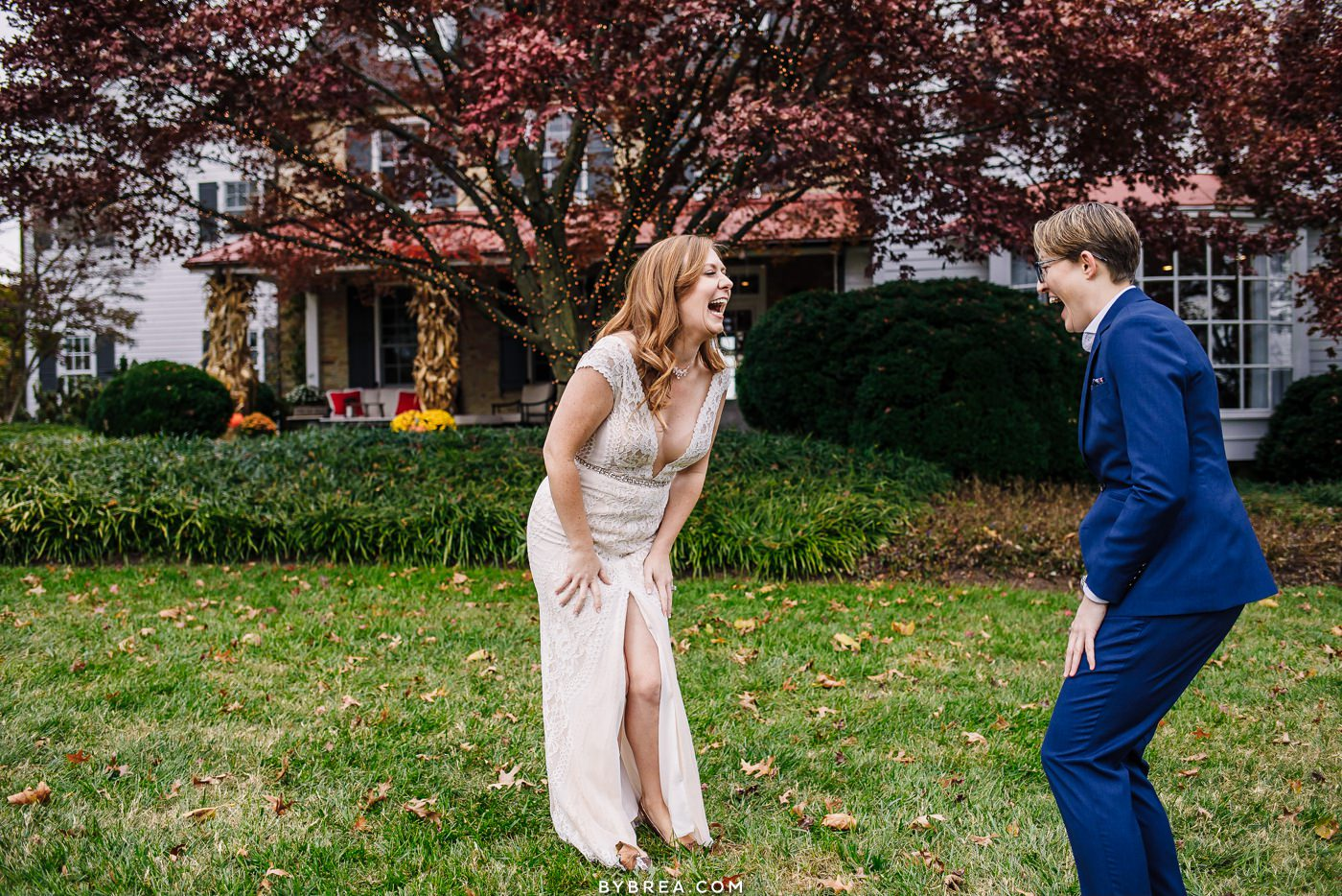 Candid moment of brides reaction to seeing each other Baltimore Wedding