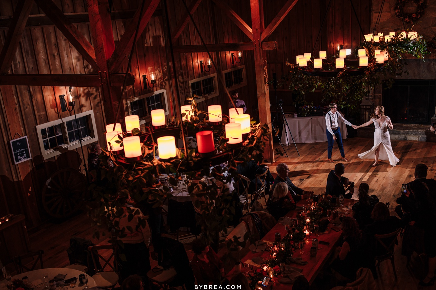 Wide photo of brides first dance during wedding at Tusculum Farm Baltimore wedding photography