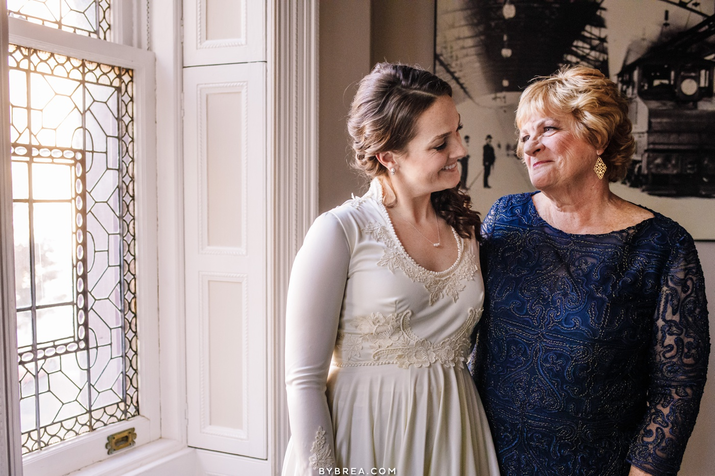 Emotional photo of bride and mother during getting ready Baltimore wedding photography