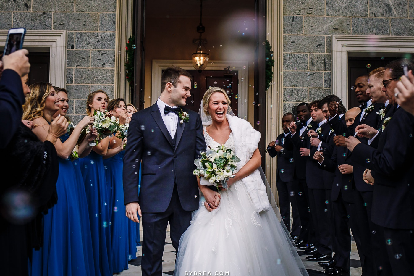 Photo of bubble exit during wedding ceremony at Basilica in Baltimore