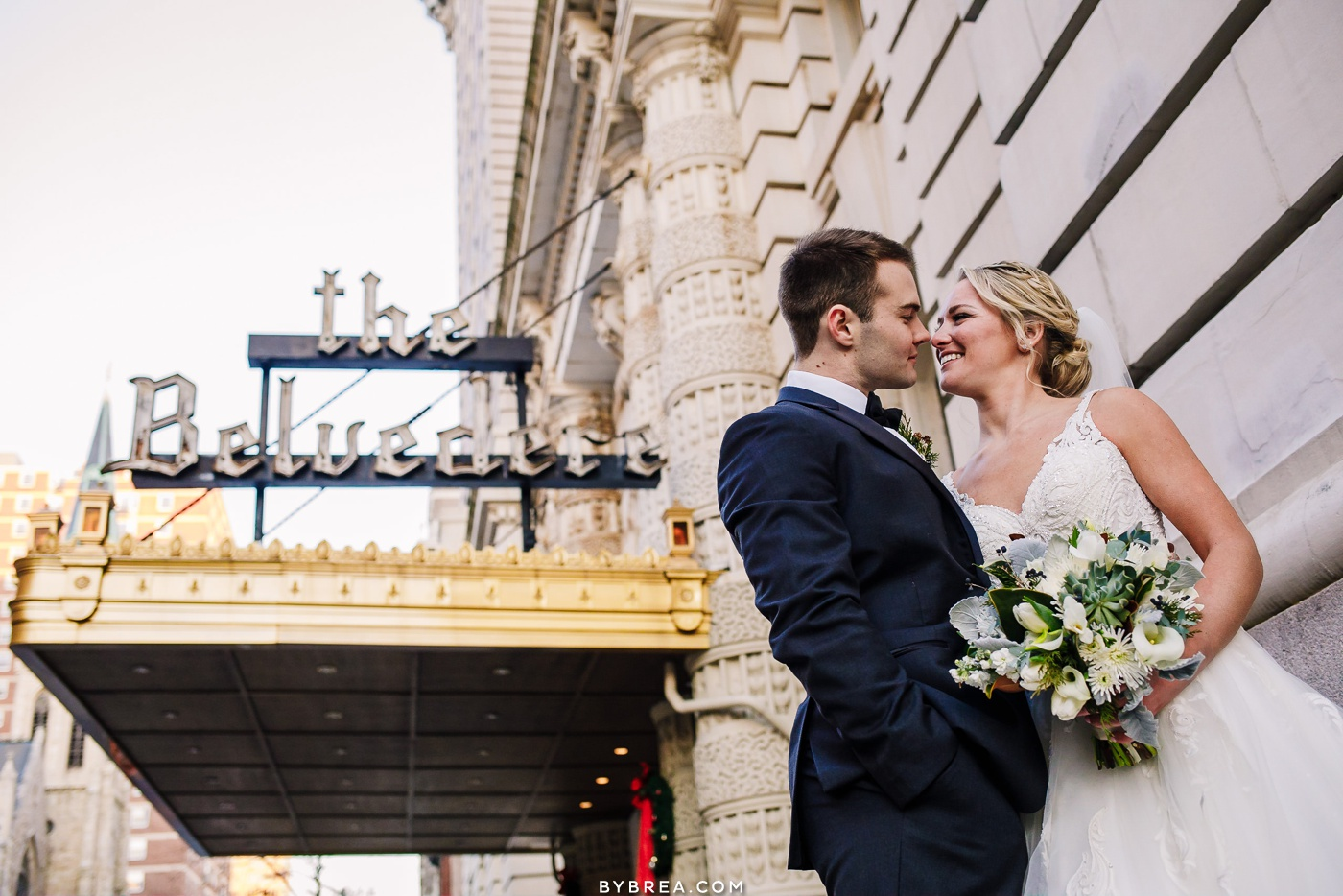 Couple's portraits during wedding at the Belvedere Hotel in Baltimore