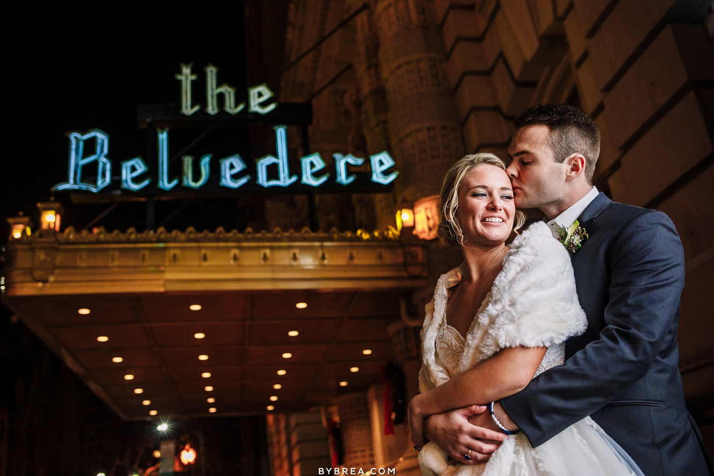 Night time couples portrait during winter wedding at Belvedere Hotel in Baltimore