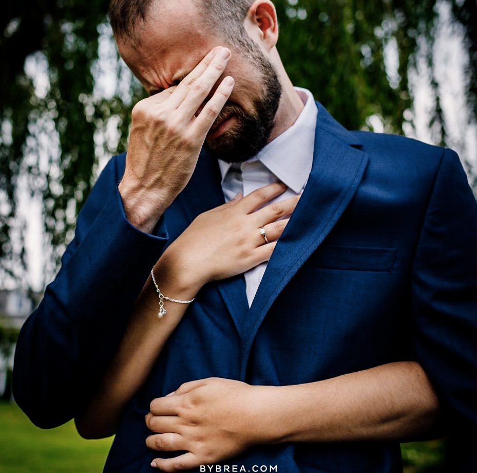 Emotional wedding photo by Baltimore wedding photographer Breanna Shaw